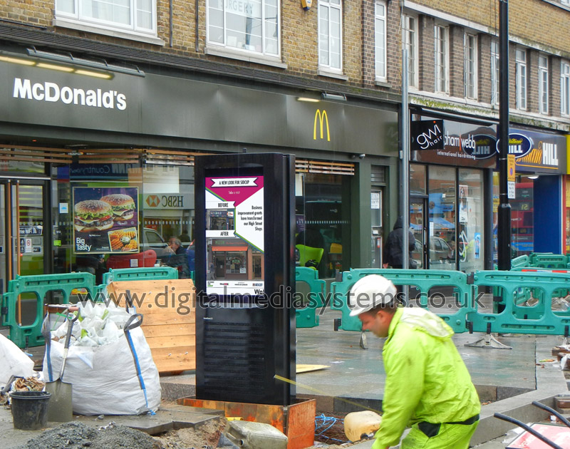 "London Borough of Bexley, Sidcup High Street Outdoor Digital Signage solution with Double sided 47"" 2,500 nits weatherproof screens."