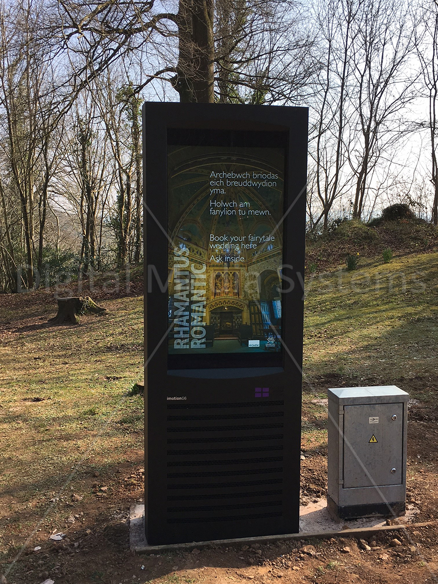 Portrait Digital Signage outside Castle in Wales