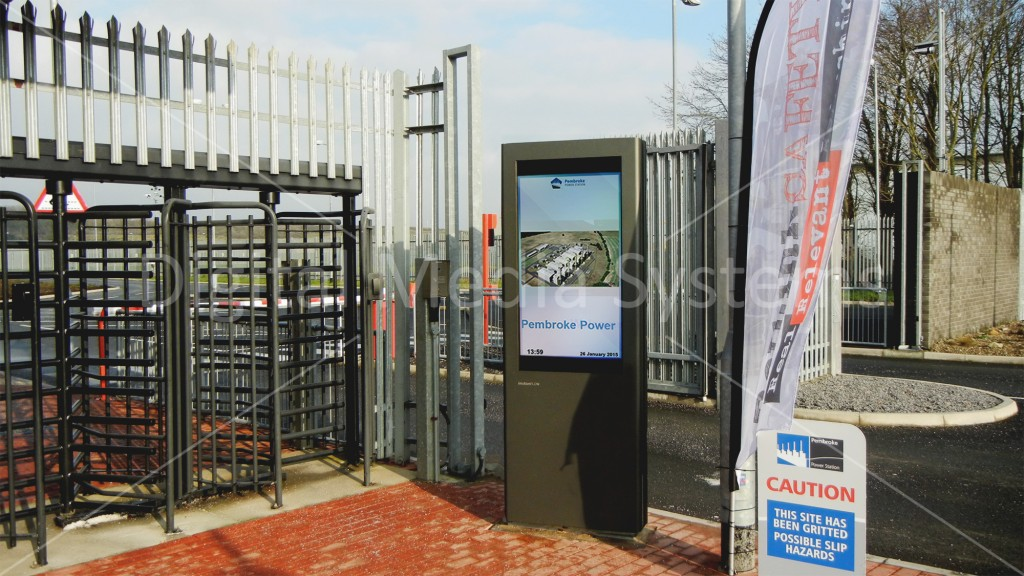 Full weatherproof outdoor Digital Display Screen installed for RWE nPower @ Pembroke Power Station..