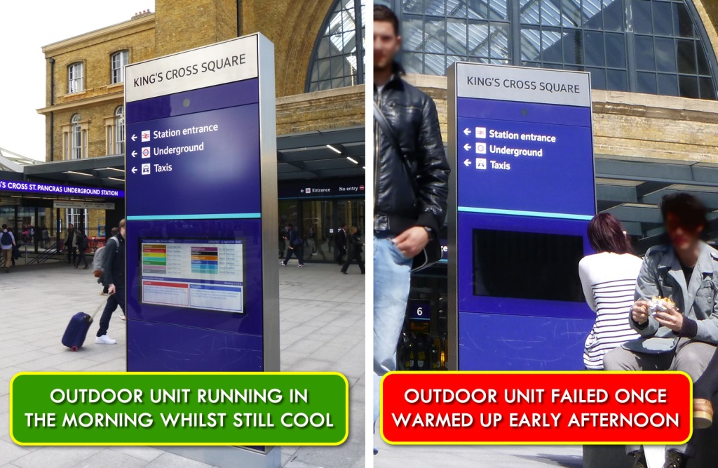 Electronic display screens for outdoor use. failed.
